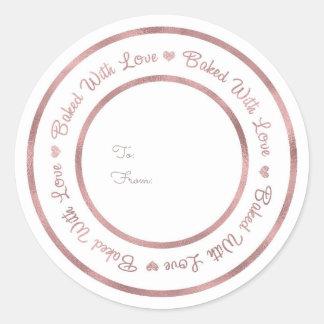 Sticker Rond Cuit au four avec le charme moderne d'or rose de