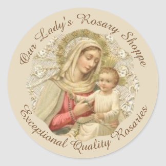 Sticker Rond CUSTOMISEZ notre Madame du bébé Jésus de chapelet
