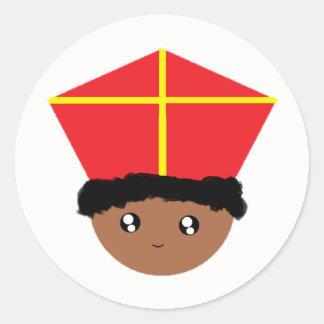 Sticker Rond Cutieful badine la mitre Zwarte Piet de