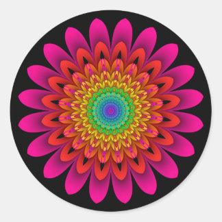 Sticker Rond Dahlia d'arc-en-ciel de kaléidoscope de fractale