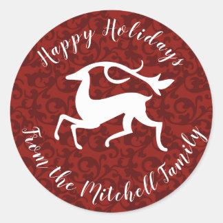 Sticker Rond Damassé stylisée de rouge de cerfs communs de Noël