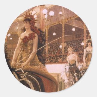 Sticker Rond Dames des voitures (cirque) par Tissot, art