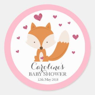 Sticker Rond  d'autocollant de baby shower de rose d'amour de