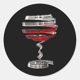 Sticker Rond D'autocollants ronds étranges en verre de vin