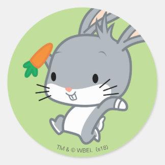 Sticker Rond ™ de Chibi BUGS BUNNY avec la carotte
