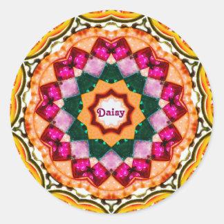 Sticker Rond ~ de motif de fractale de gemme personnalisé par ~