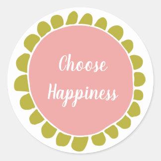 Sticker Rond De motivation choisissez le bonheur mignon