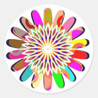 Sticker Rond Décorations colorées de Chakra de roue FLORALE