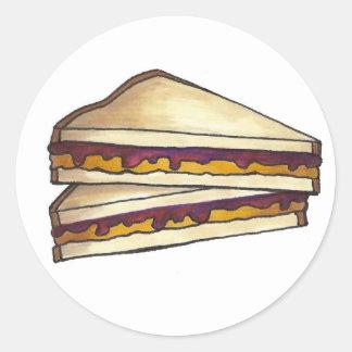 Sticker Rond Déjeuner du sandwich PBJ à beurre d'arachide et à