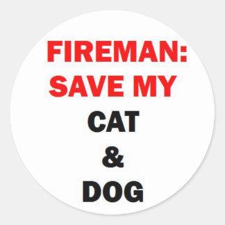 Sticker Rond Délivrance de pompier mes animaux familiers