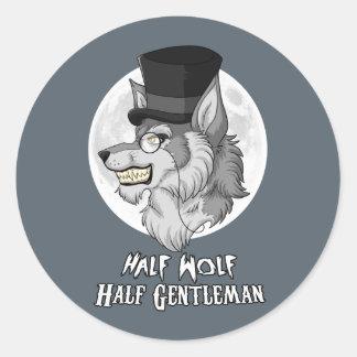 Sticker Rond Demi de monsieur de demi de loup