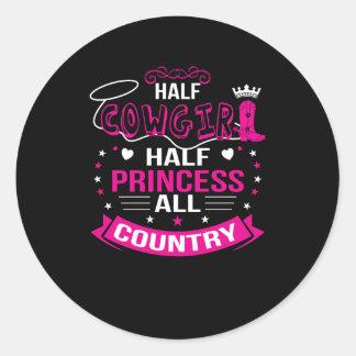 Sticker Rond Demi de princesse All Country de demi de cow-girl