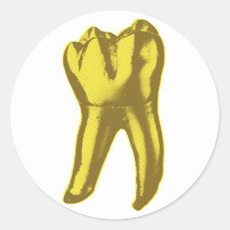 Sticker Rond Dent d'or