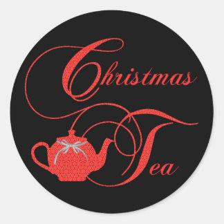Sticker Rond Dentelle élégante de rouge de thé de Noël