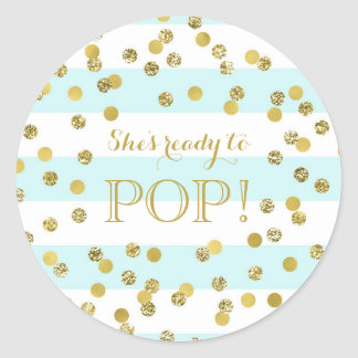 Sticker Rond Des confettis d'or de rayures bleues elle est