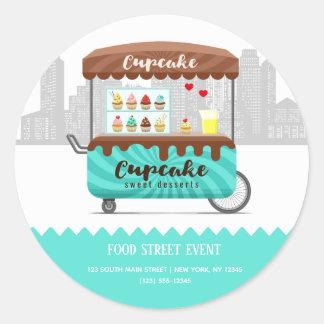 Sticker Rond Desserts de bonbon à petit gâteau de rue de