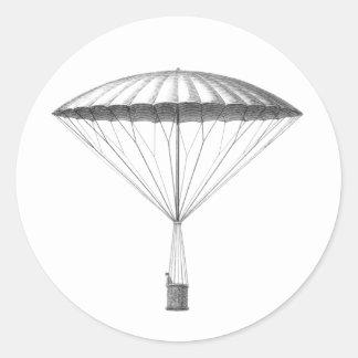 Sticker Rond Dessin chaud vintage de ballon à air de Steampunk