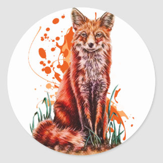Sticker Rond Dessin d'art animal rouge de Fox et de peinture