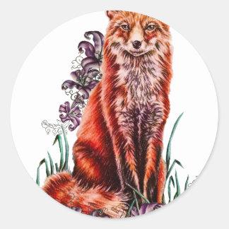 Sticker Rond Dessin d'art animal rouge et de lis de Fox
