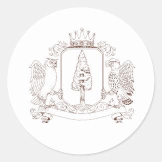 Sticker Rond Dessin de crête de couronne de séquoia de hibou et