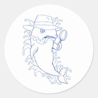 Sticker Rond Dessin révélateur d'épaulard d'orque