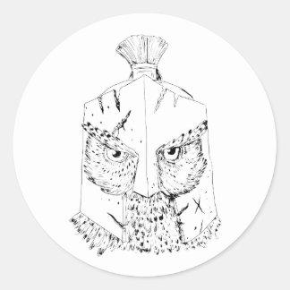 Sticker Rond Dessin spartiate de casque de hibou à cornes
