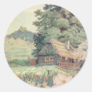 Sticker Rond Dessin vintage : Petit cottage de montagne au