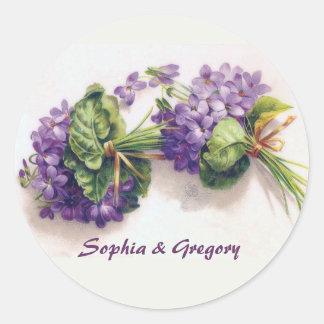 Sticker Rond Deux bouquets violets vintages de mariage