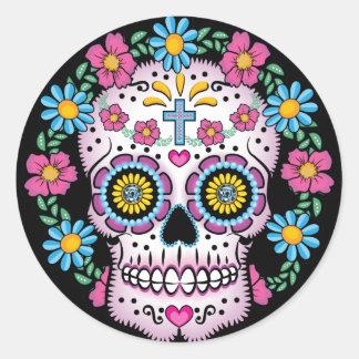 Sticker Rond Dia de los Muertos Skull