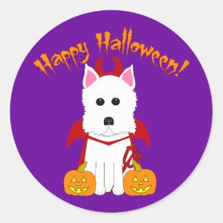 Sticker Rond Diable heureux de Halloween Westie
