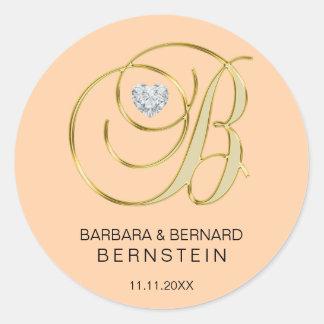 Sticker Rond Diamant décoré d'un monogramme de coeur de la
