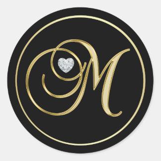 Sticker Rond Diamant noir élégant de coeur de la lettre M de
