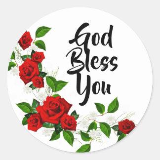 Sticker Rond Dieu de fleurs blanches de roses rouges vous