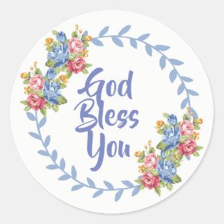 Sticker Rond Dieu vous bénissent guirlande florale
