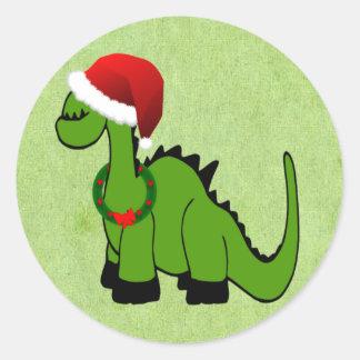 Sticker Rond Dinosaure de Noël