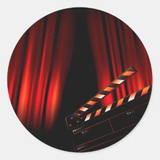 Sticker Rond Directeur rouge de bardeau de rideau en film