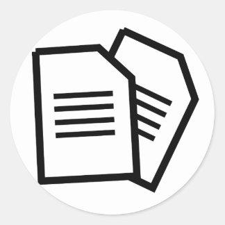 Sticker Rond Documents sur papier