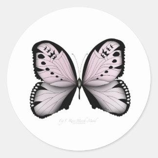 Sticker Rond Domestique rose de marais de papillon rose