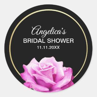 Sticker Rond Douche nuptiale personnalisée d'or de rose floral