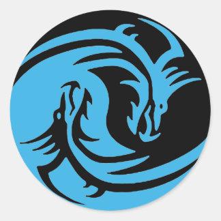Sticker Rond Dragons ensemble tribal noir de Yin et de Yang et