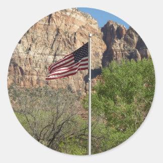 Sticker Rond Drapeau américain en parc national II de Zion