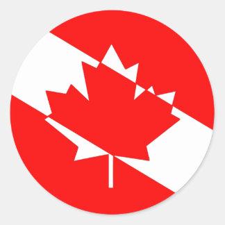 Sticker Rond Drapeau canadien de plongeur autonome
