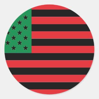 Sticker Rond Drapeau d'Afro-américain - noir et vert rouges