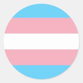 Sticker Rond Drapeau de fierté de transsexuel - arc-en-ciel de