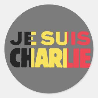 Sticker Rond Drapeau de Je Suis Charlie-Je AM Charlie-Belgique