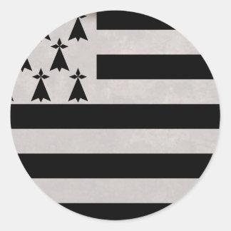 Sticker Rond Drapeau de la Bretagne