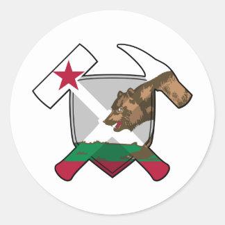 Sticker Rond Drapeau de la Californie de bouclier de marteau de