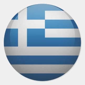 Sticker Rond Drapeau de la Grèce