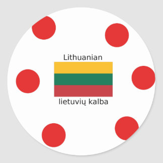 Sticker Rond Drapeau de la Lithuanie et conception lithuanienne
