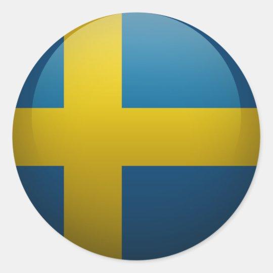 Sticker Rond Drapeau de la Suède